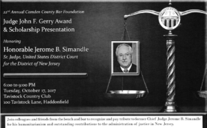 AFBNJ 2017 - Camden County Bar Event - Honorable Jerome B Simandle - 10.17.17