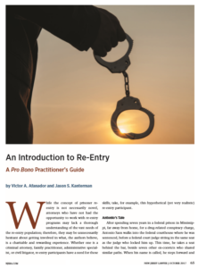 New Jersey Lawyer Re-Entry Article 2017 - Victor Afanador